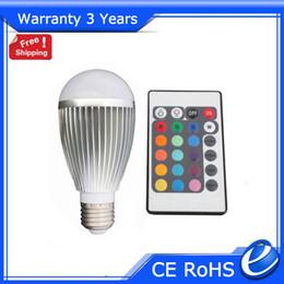 Rgb led spot light 9w online-9W RGB LED Bombilla E27 RGB 16 Cambio de color Luz de punto Epistar Chip Garantía 3 años 50000h CE Fuente de fábrica Envío gratis