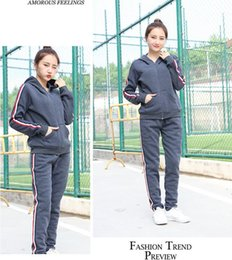 Wholesale Warm Women Loose Sweaters - 2017 winter fitness sports sweater with hat leisure loose warm ladies suit