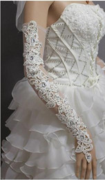 Wholesale Long Lace Fingerless Gloves - Long Bridal Gloves Rhinestone Lace Wedding Gloves Hot Sale Cheap Bridal Accessories Luxury Long Gloves For Evening Dress