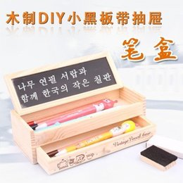 Wholesale Diy Wooden Pencil Case - Wholesale-2015 Wooden DIY small blackboard drawer pencil case 21.*7.8*6cm free shipping