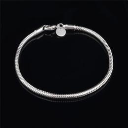Wholesale Cheap Sterling Silver Bracelets - Cheap Top Quality 925 Sterling Silver snake chain bracelet 3MMX20CM fashion unisex jewelry free shipping