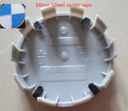 Wholesale Blue Centre - 20pcs lot ALLOY 68mm WHEEL CENTRE CAPS blue   white OEM STYLE 10 clips 10pins made in Italy