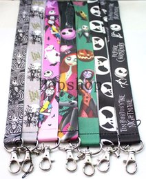 Wholesale Nightmare Before Christmas Cartoon - 100 pcs Cartoon pattern The Nightmare Before CHristmas lanyard printing keychains straps id holders neck  key phone lanyard