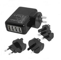 Wholesale Universal Multi Plug Travel Adapter - 4 Ports USB 2A Multi Adapter Travel Wall AC Charger with UK EU US AU Plug