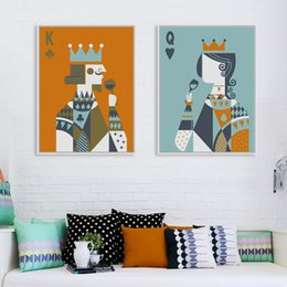Wholesale Couple Wall Painting - Modern Abstract Poker King Queen Couple Love Poster Print A4 Wedding Wall Art Picture Hippie Home Decor Canvas Painting No Frame