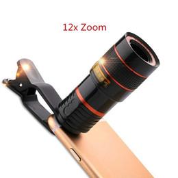 cámara de teléfono celular negro Rebajas Lente de la cámara del teléfono del telescopio de la lente del teleobjetivo 12x para el iPhone 4S 5 5s SE 6 6s 7 más lente del teléfono celular de Smartphone con los clips negro / blanco