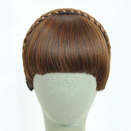 Wholesale Hair Extensions Fringes - 3Colors Available Fake Hair Bangs Girls Front Neat Bang Hair Extensions Fringe Hair Synthetic Clips