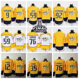 Wholesale Jersey 76 - 2018 Nashville Predators Jersey 9 Filip Forsberg 12 Mike Fisher 35 Pekka Rinne 59 Roman Josi 76 PK Subban 92 Ryan Johansen Yellow Ice Hockey