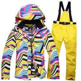 Wholesale Sport Snowboard Jackets - Wholesale- 2016 Winter Woman Skiing Jacket Sets Waterproof Thicken Warm Snow Hooded Coats Outdoor Sport Snowboard Sets Waterproof Windproof