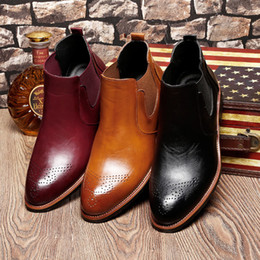 Wholesale Mens Business Ankle Boot - US 6-10 Mens Genuine Leather Pointy Toe Formal Dress Business Oxford Brogue Wingtip Ankle Boots Chukka Shoes Winter Leather Boots