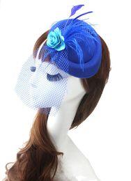 Wholesale Veil Flower Headdress - Cocktail Hats British Retro Tulle Handmade Flower Veil Sexy Cheap Fashion Lady Small Hat Bridal Headdress Wedding Accessories
