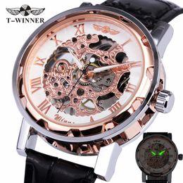 Wholesale Roman Navy - Fashion WINNER Men Luxury Brand Roman Number Display Hand-wind brown Leather Skeleton Military Watch Mechanical Wristwatches