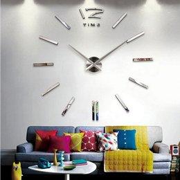 Wholesale Diy 3d Mirror Wall Clock - 2015 new hot sale wall clock watch clocks 3d diy acrylic mirror stickers Living Room Quartz Needle Europe horloge free shipping