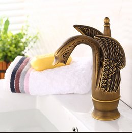Wholesale Swan Waterfall Faucet - Free shipping Swan Antique bronze Brass Deck Mounted Bathroom Basin Sink Waterfall Faucet Mixer Taps Vanity Faucet SE-8605