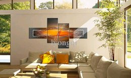 Wholesale Set Painting Wall Orange - Hand-painted Hi-Q modern wall art home decorative abstract oil painting on canvas Bouncing line orange 4pcs set framed