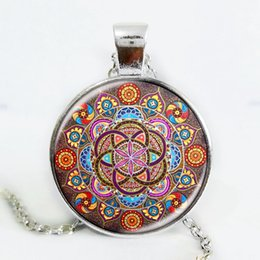 Wholesale Vintage Glass Beaded Necklaces - Silver plated necklace mandala necklaces chakra pendant OM jewelry for women glass cabochon pendants Zen gifts jewellery vintage