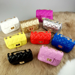 Wholesale Fashion Hangbags - New Girl Hangbags Chain PU leather Kids Fashion Hangbags Candy Color Children's Bag Hand Bag Good Gift