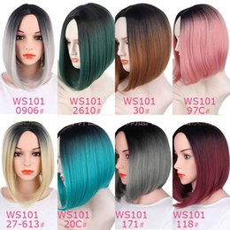 Wholesale Ombre Style - Wholesale Ombre Bob Wigs Two Tone Ombre Short Cut Style Straight Synthetic Hair Wig for Any Skin Color