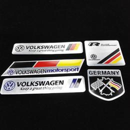 Wholesale Volkswagen Windshield Decal - Car Trunk Badge Emblem Sticker Metal Aluminum VW Car Decal Sticker logo Motorsport For Volkswagen Jetta Bora Passat Golf Polo CC