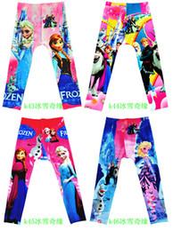 Wholesale Tight Colors Jeans - 50 Colors Girls Christmas Frozen leggings Fashion Cartoon Printed Pants kids Fake Denim Jeans Kids trousers tights leggings