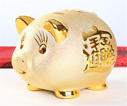 Wholesale Gold Piggy Bank - CERAMIC PIG PIGGY BANK GOOD FORTUNE WEALTH ASIAN FENG SHUI GOLD PIGGY MONEY BANK