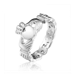 Wholesale Claddagh Bands - Wholesale New Brand Designer Ladies Claddagh Stainless Steel Skull Rings For Women Wedding Party Free Shipping