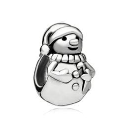 Style simple, une couleur Rhodium placage joyeux Noël mignonne bonhomme de neige européenne charme perle infantile Convient Pandora DIY Bracelet ? partir de fabricateur