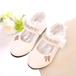 Wholesale Wedding Children Shoe - Girls PU Leather Shoes Autumn Party Shoes For Girls Flower Wedding Children Single Student Princess Baby Shoes