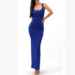 Wholesale Sleeveless Bohemian Beach Tank Dress - Sexy sleeveless solid tank BASIC scoop neck Ankle Length Racerback casual long maxi Summer beach Bodycon dress