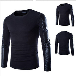 Wholesale Pu T Shirts - High Quality PU leather splice men long-sleeved T-shirt Men Cotton T shirt Black Casual Tops camiseta fashion style free shipping