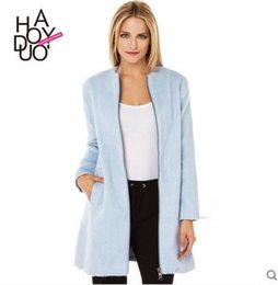 Wholesale Blue Trench Coat Women Sale - New Sale Elegant Women Winter Wool Coats Slim Trench Long Jackets Stand Removable Fur Collar Outdoor Ladies Overcoat