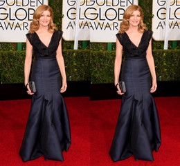Wholesale globe prom - 72nd Golden Globe Rene Russo Satin V-neck Navy Blue Long Pleats Evening Prom Party Evening Celebrity Dresses