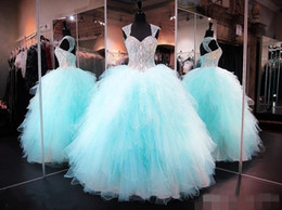 Wholesale Modest Sweetheart Prom Dress - sparkly crystal sweetheart ball gown quinceanera dresses 2018 modest ruffles puffy skirts sweet sixteen prom masquerade dresses