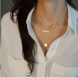 Wholesale Lariat Necklaces - Wholesale- Hot Unique Fashion Gold Color Bar Coin Geometric Lariat Necklaces Long Strip Multilayer 3 Layers Chain Pendants Necklaces Women