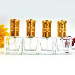 Wholesale Wholesale Fragrance Sprayer Pumps - 10ml Portable Glass Perfume Bottle Cute Empty Makeup Fragrance Atomizer Gold Lids Pump Sprayer Bottle Promotion 10pcs lot DC867