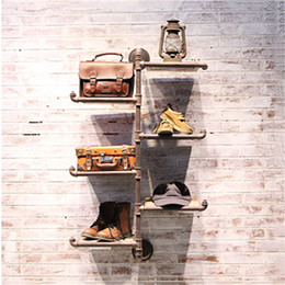 Wholesale Retro Living Room Furniture - Industrial water modeling study iron wood shelving retro living room wall storage rack finishing clapboard