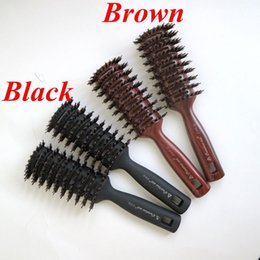 Wholesale Brushes For Salon - Boar Bristle Hair Brush Brown Color Comb Brush for Hair Extensions Professional Hair Comb for Salon free shipping