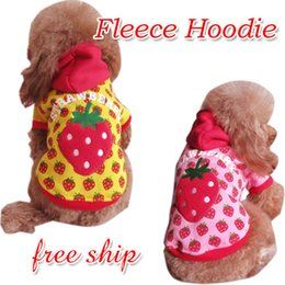 Wholesale Pink Hoodies For Dogs - Wholesale-Pet Puppy Dog Warm Strawberry Fleece Hoodie Coat, Pet Clothes ,Pet Products For Dog ,100% POLYESTER