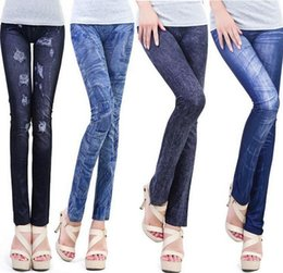 Wholesale Leggings For Cheap - Women's Printed Leggings Jeans Cheap Ripped jeggings Graffiti Fitness Legging for Women Pants Sexy Leggings Free Style DHL free NW12