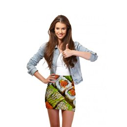 Wholesale Sushi Package - FG 1509 Raisevern 2015 new funny sushi print women hip cover package skirt funny pattern printed mini skirts cute 3D short skirt