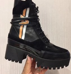 Wholesale Womens Genuine Leather Combat Boots - 20178 spring fall Womens black real leather with Silver shiny patent knot lace up Platform combat booties Military Boots