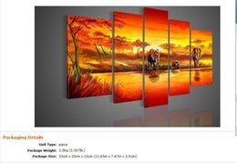 Wholesale Oil Paintings Ship Lake - 100% Hand painted Free shipping hot sun giraffe Lake forest elephants landscape Oil Painting canvas5pcs set Frameless drawd