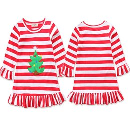 Wholesale Dresses Turkey Wholesalers - Baby girls Turkey Christmas tree dress cartoon Children stripe princess dresses Xmas Thanksgiving kids costume B11