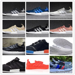 Wholesale Grey Basketball Shoes - 2017 NMD Runner R1 Primeknit White Red Blue NMD Runner Sports Shoes Men Woman NMD shoes boost Running shoes EUR 36-44
