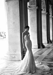 Wholesale Inbal Dror Evening - Inbal Dror 2016 Mermaid Sequined Evening Backless Bridal Gowns with Sweetheart Neckline and Tulle and Organza Long Train