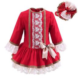Pettigirl Nuevo otoño vestido rojo de las muchachas con los sombreros del cordón Vestido de los niños del vintage Bontique Niños Ropa de Navidad G-DMGD908-893 desde fabricantes