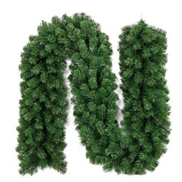 Wholesale Christmas Pine Wreath - 2 .7m Artificial Green Wreaths Christmas Pine Garland Haning Ornaments For Xmas Fireplace Tree Home Party Decoration