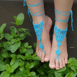 Wholesale Wholesale Crocheted Footless Sandals - Spiderweb Inspired - WHITE - Women Crochet Triangles Shoes Handmade Design Footless Sandals Beach Wedding lace Trending Shoes