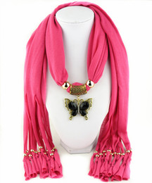 Wholesale Butterfly Necklace Purple - Zinc alloy butterfly pendant scarves fringed womens necklace jewelry scarf multi colors gifts for girlfreind free shipping