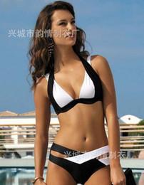 Wholesale Sexy Bikini Strap Padded Swimsuits - Women Hot Swimsuits Bikinis Sexy Women Bikini Set Contrast Cross Strap Push Up Padded Swimwears Swimsuits Beachwear hit color Black White